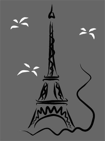 the tower eiffel in france Vektoros illusztráció