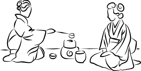 two women by the Japanese tea ceremony Stock Illustratie