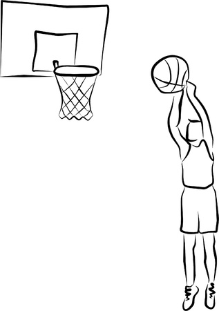 canestro basket: un giocatore di basket, pronto a punteggio Vettoriali