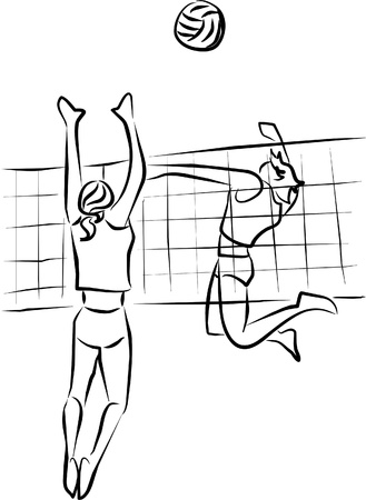 close to scoring in a game of volleyball Stock Vector - 9289843