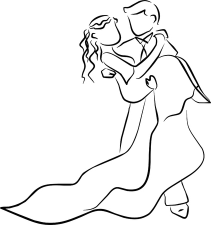 A couple just married, the bride is in his arms Vector