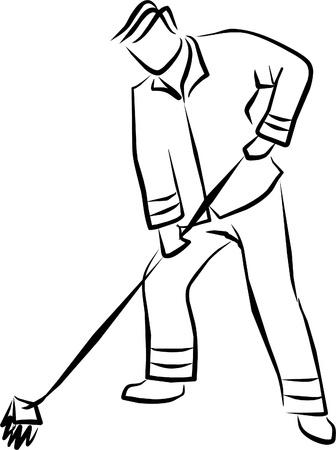 spazzatrice: uno spazzino pulire le strade in pace Vettoriali