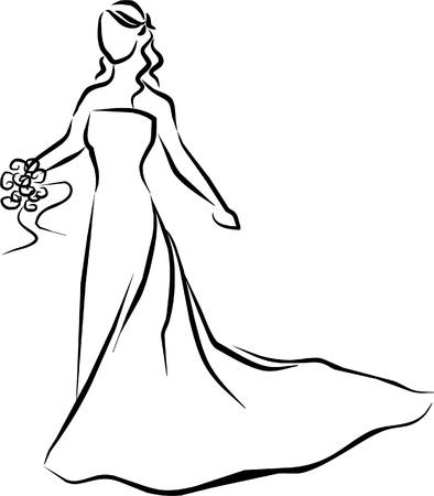 彼女の白いドレスを着た美しい花嫁 ベクターイラストレーション