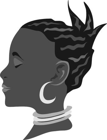 geschlossene augen: Gesicht des eine Afrikanerin mit Augen geschlossen Illustration