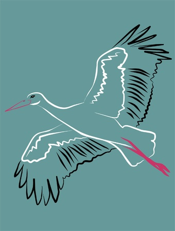 stork soaring through the sky with open wings