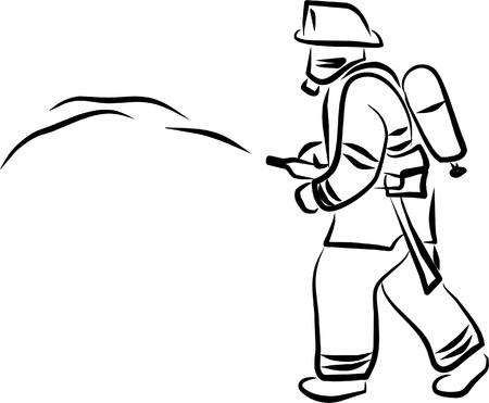camion de bomberos: un bombero intenta apagar el fuego r�pidamente