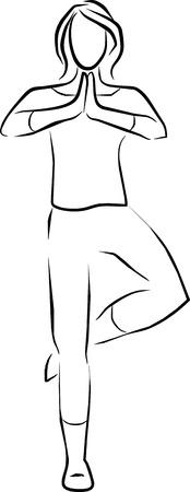 サイレント: 女性ヨガをやっている 1 本の足上の分散