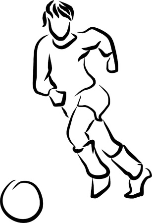 soccer referee: a football player running after the ball