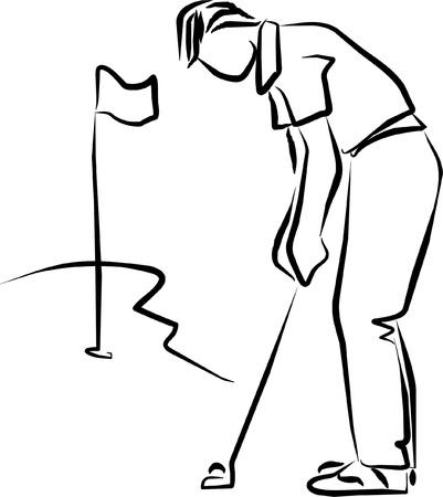 golpeando: golfista golpear la bola en la hierba Vectores