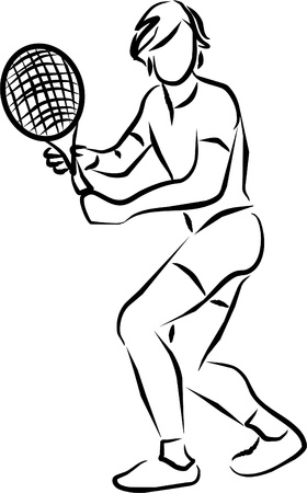 servir: tennis player in the middle of a match waiting for the ball