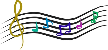 semibreve: staff with musical notes of various colors