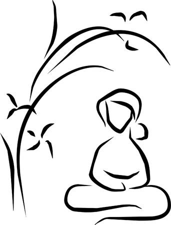 stil zijn: vrouw onder een boom zitten mediteren Stock Illustratie