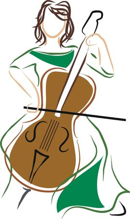 cello: cellist playing the cello at a concert Illustration