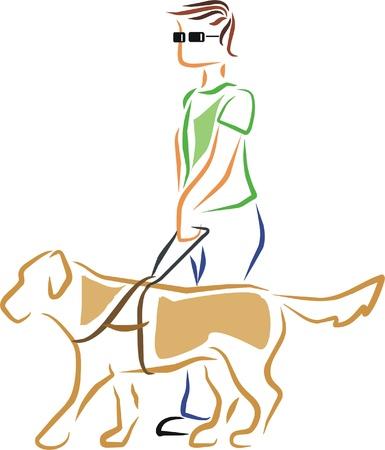 persiana: un uomo cieco � guidato dal suo cane guida