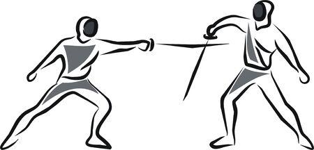 esgrima: dos atletas en un combate de Esgrima