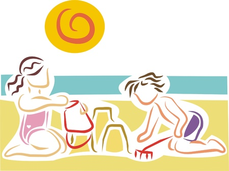 two children playing with sand on the beach Vector