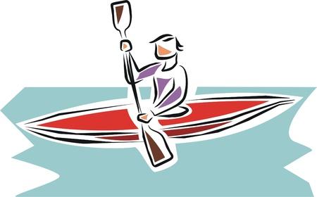 kayak: kanovaarder opleiding voor toekomstige concurrentie Stock Illustratie