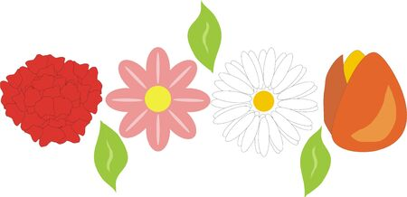 various flowers of different types and colors Stock Vector - 9447264