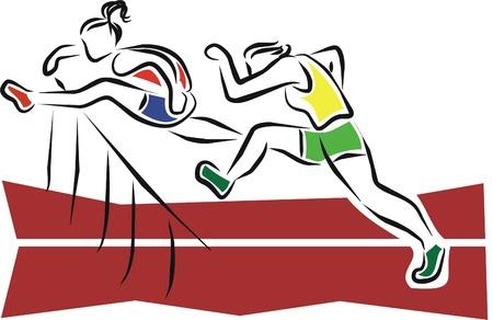 two sportswomen in an obstacle race Illustration