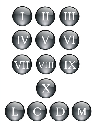 black and crystal buttons with roman numbers