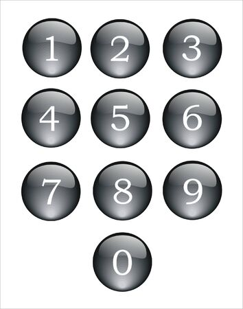 numbering: black and crystal buttons with numbers