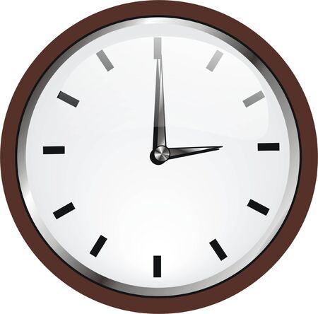 reloj de pared: un reloj de pared con marco de madera Vectores