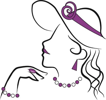 high society woman with jewelry Vector