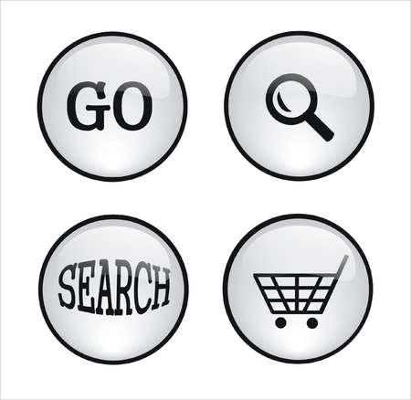 several white buttons for web design
