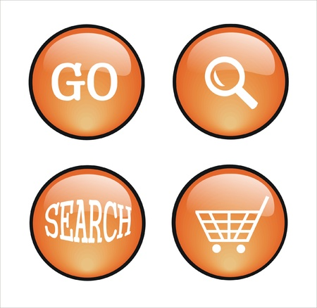 several orange buttons for web design Stock Vector - 9502636