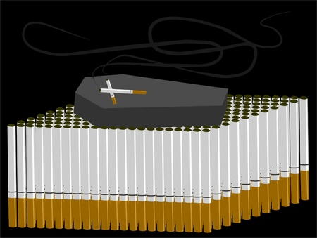 cigarettes and coffin symbolizing a harmful addiction Stock Vector - 9537848