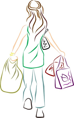 woman carrying shopping bags Stock Vector - 9537837