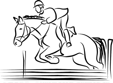 salto de valla: caballo y jinete saltando un obst�culo
