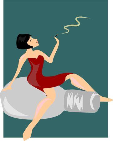 women smoking: mujer de fumar sentada en un frasco de perfume Vectores