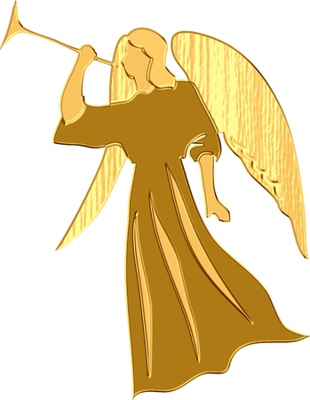 gold angel playing trumpet