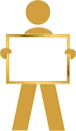 noticeboard: golden man holding noticeboard