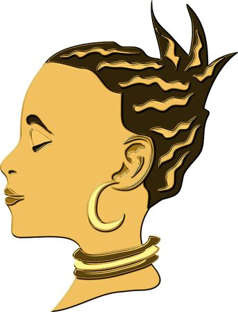 thinness: African woman in gold metallic