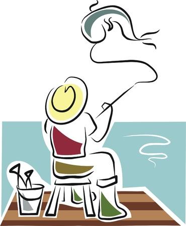 pescador: pescador captura un pez Vectores