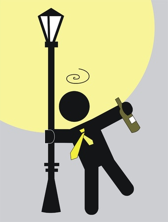 ubriaco: ubriaco stringendo un lampione per mantenere dal cadere