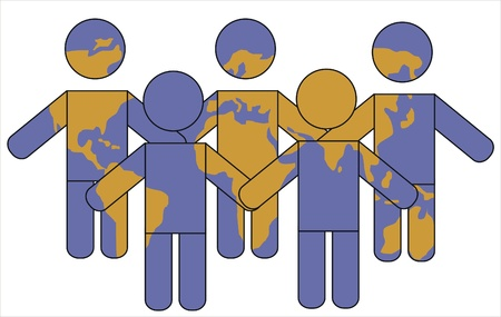 interracial: marionetas y mundo mapa que representa la poblaci�n mundial