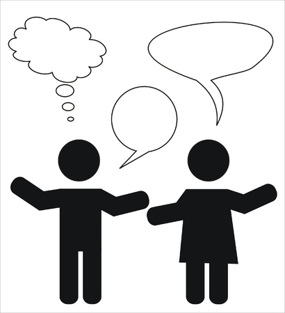 two people in the middle of a conversation Vector