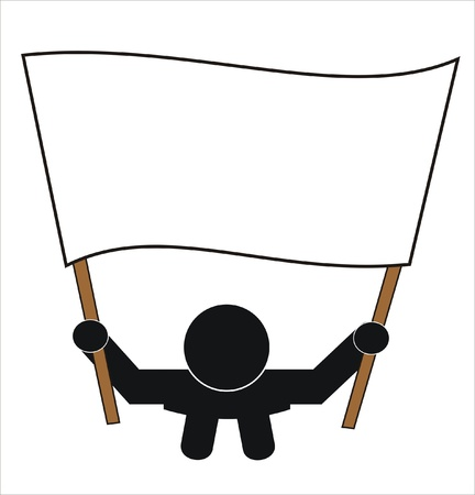 person holding a protest banner Illustration