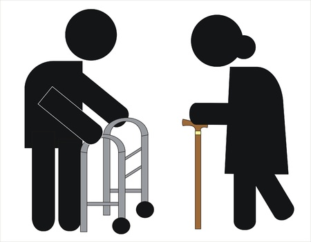 two elderly people dependent on crutches and walker