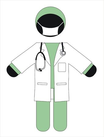 surgeon with a mask and white coat Stock Vector - 9573368