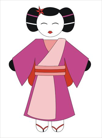 prostitution: Geisha with pink and red kimono