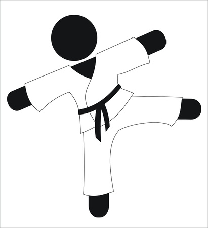 karateka: karateka kicking in a training