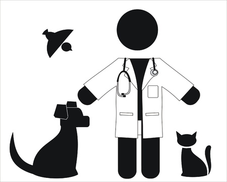 veterinarian with a white coat and animals Stock Vector - 9573367