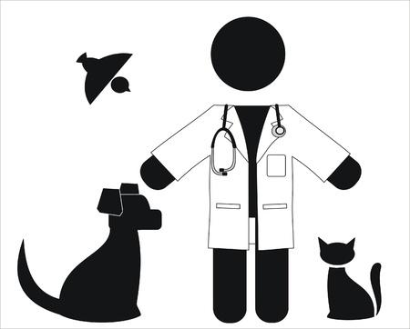 veterinario con una bata blanca y animales