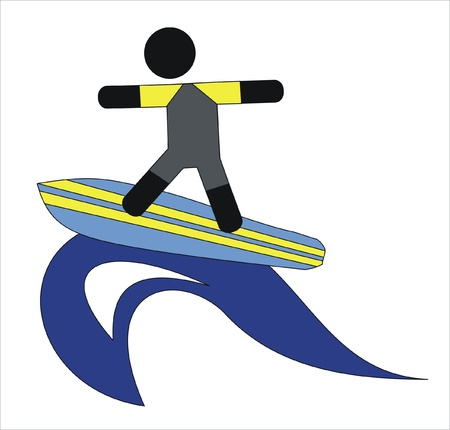 man surfing a wave in the sea Stock Vector - 9573370