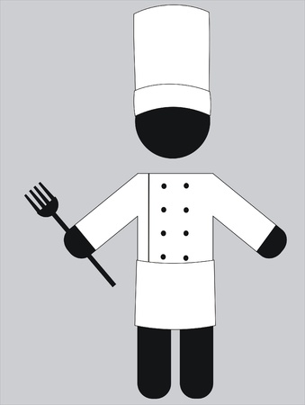 chef de cuisine in his uniform with a fork Vector