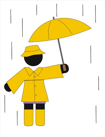 Woman with raincoat and umbrella in the rain Vector